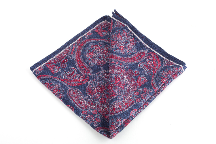 Paisley/Plaid Silk Pocket Square - Double - Navy Blue/Red