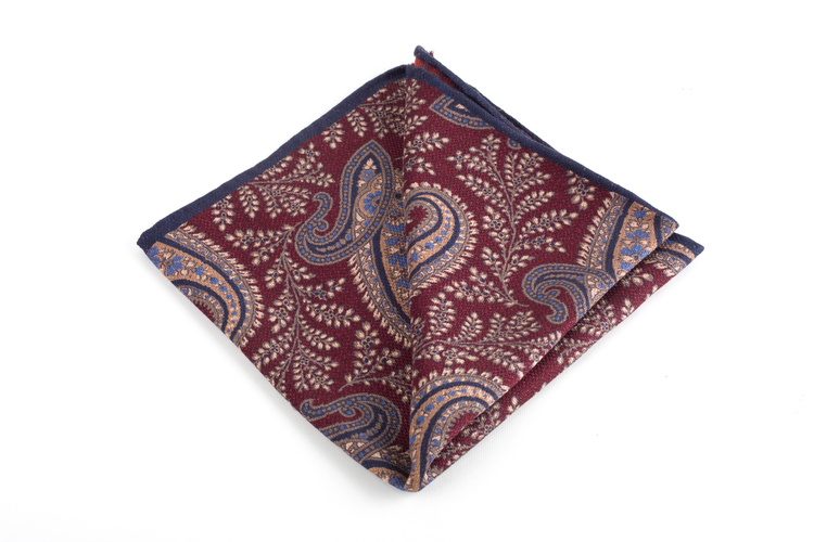 Paisley/Dots Silk Pocket Square - Double - Burgundy/Beige