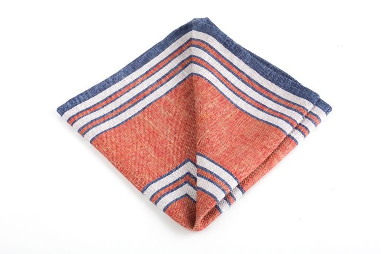Square/Solid Silk Pocket Square - Double - Orange/Navy Blue
