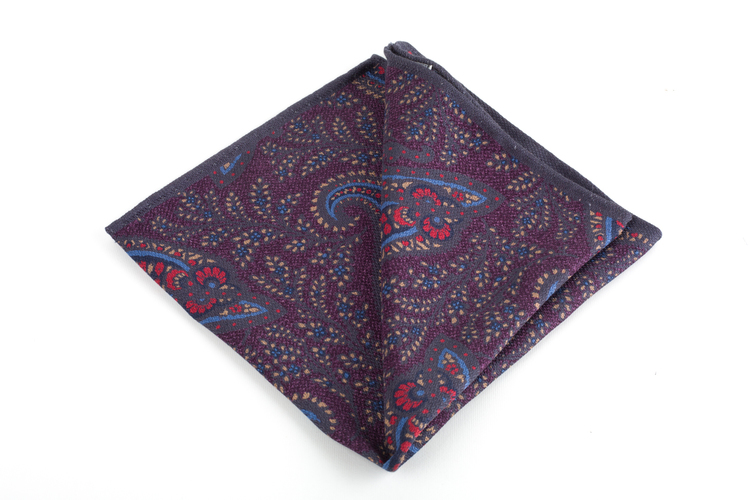 Paisley/Pindot Silk Pocket Square - Double - Purple/Grey