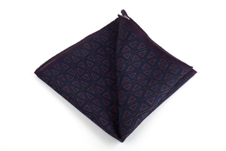 Triangolo Printed Wool Pocket Square - Lilac/Blue