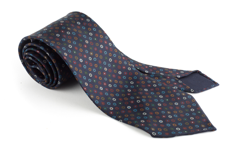 Multi Floral Printed Silk Tie - Untipped - Navy Blue/Burgundy