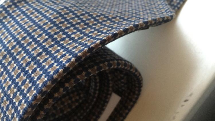 Floral Printed Wool Tie - Untipped - Navy Blue/Beige
