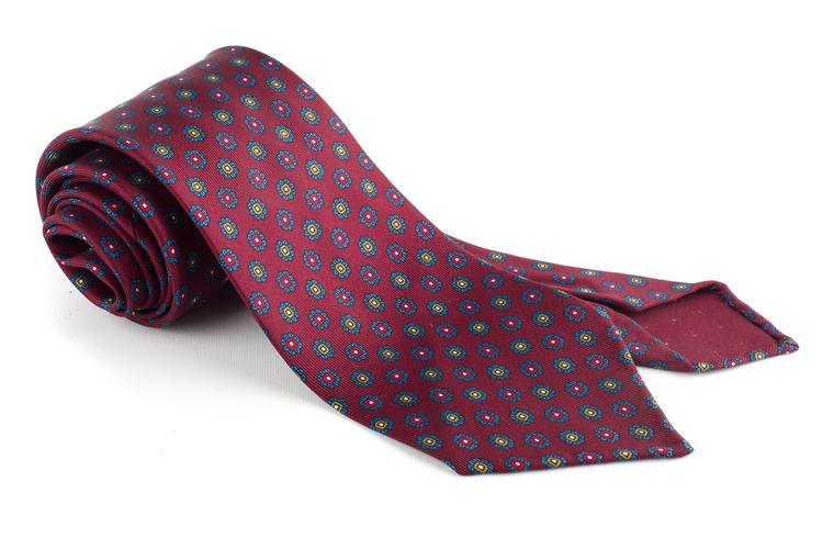 Floral Printed Silk Tie - Untipped - Burgundy/Green