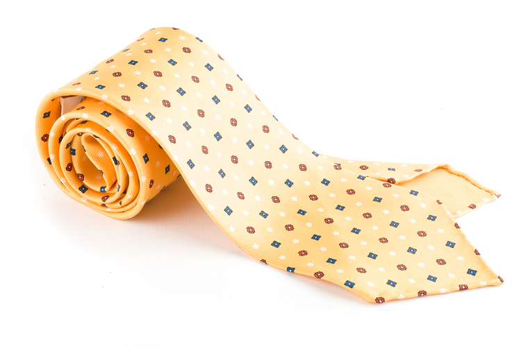 Floral Printed Silk Tie - Untipped - Yellow/Blue