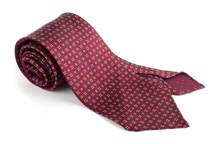Floral Printed Silk Tie - Untipped - Burgundy/Yellow