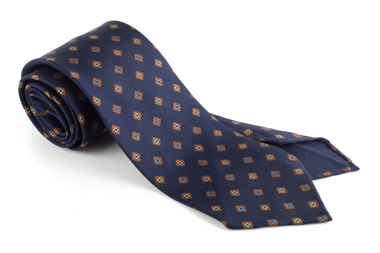Medallion Printed Silk Tie - Untipped - Navy Blue/Yellow