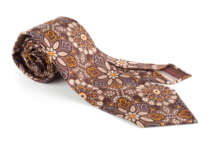 Grande Floral Printed Wool Tie - Untipped - Brown/Beige