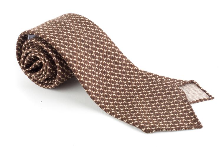 Micro Printed Wool Tie - Untipped - Brown/Beige