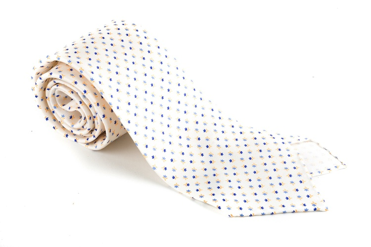 Floral Printed Silk Tie - Untipped - Creme White/Light Blue