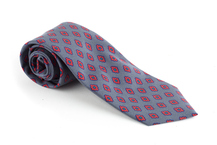 Diamond Madder Silk Tie - Grey/Rust