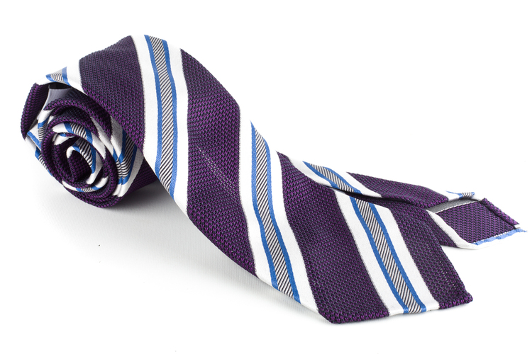 Regimental Silk Grenadine Tie - Untipped - Purple/Light Blue