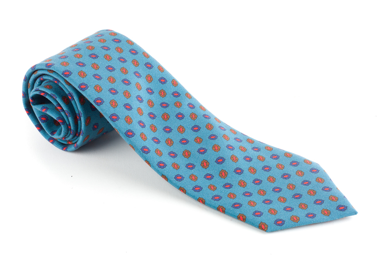 Diamond Madder Silk Tie - Turquoise/Brown