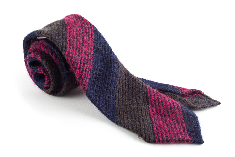 Blockstripe Wool Grenadine Tie - Untipped - Navy/Brown/Cerise