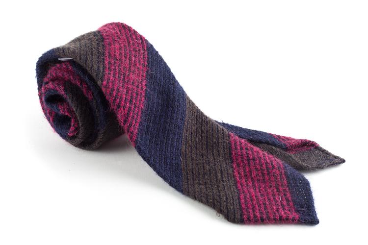 Blockstripe Wool Grenadine Tie - Untipped - Navy/Brown/Cerise