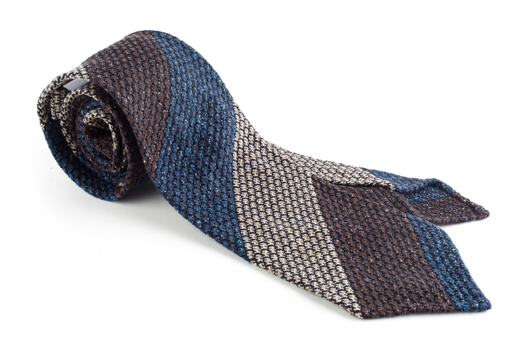 Blockstripe Jacquard Grenadine Tie - Untipped - Navy Blue/Beige/Brown