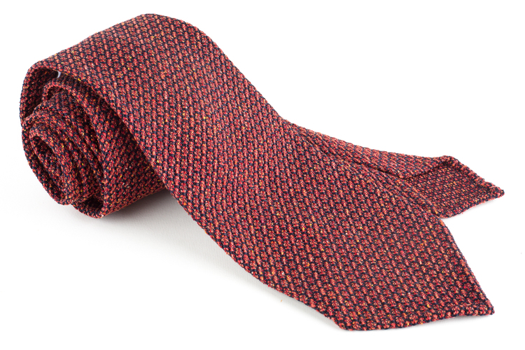 Solid Jacquard Grenadine Tie - Untipped - Rust