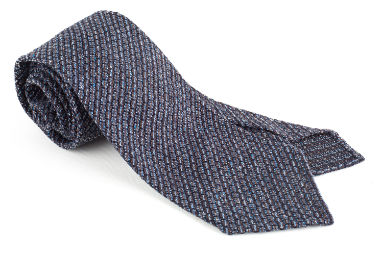 Solid Jacquard Grenadine Tie - Untipped - Navy Blue/Brown