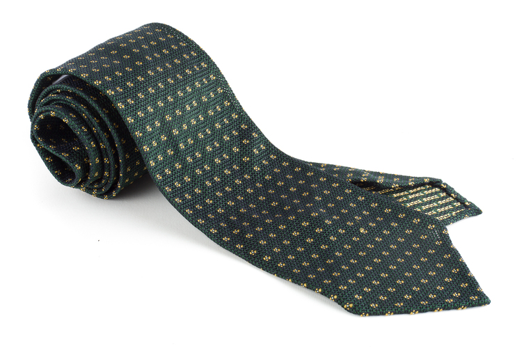 Floral Silk Grenadine Tie - Untipped - Green/Yellow