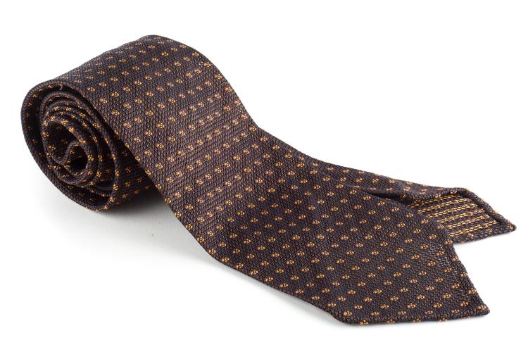Floral Silk Grenadine Tie - Untipped - Brown/Orange