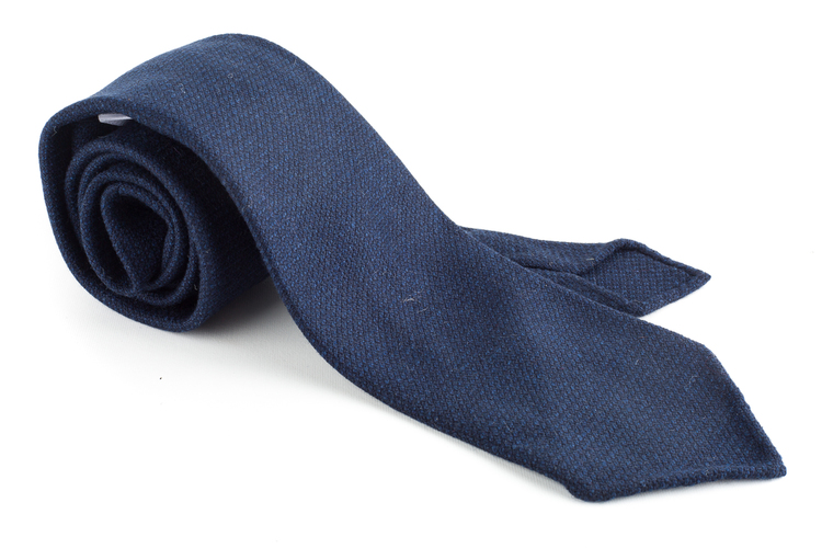 Textured Solid Wool Tie - Untipped - Navy Blue