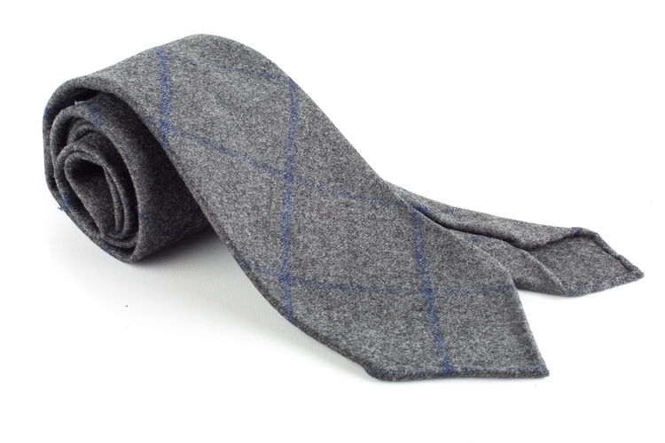 Check Wool Tie - Untipped - Grey/Navy Blue