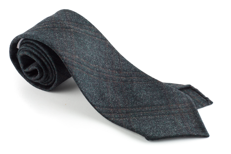 Check Wool Tie - Untipped - Grey/Green