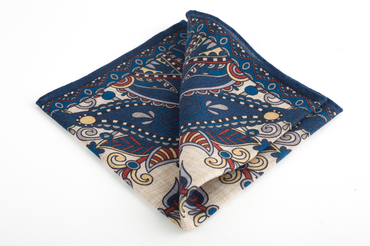 Oriental Wool Pocket Square - Navy Blue/Beige