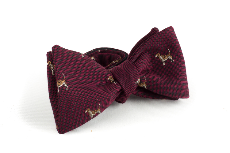Dog Wool Bow Tie - Burgundy