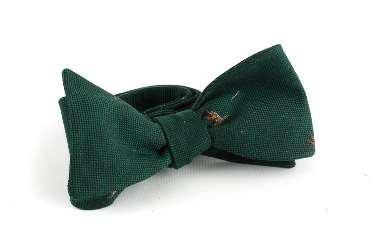 Goose Wool Bow Tie - Green