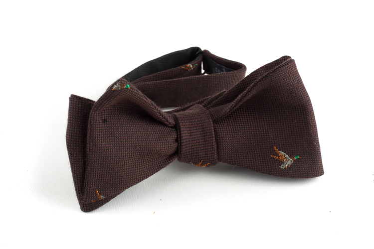 Goose Wool Bow Tie - Brown