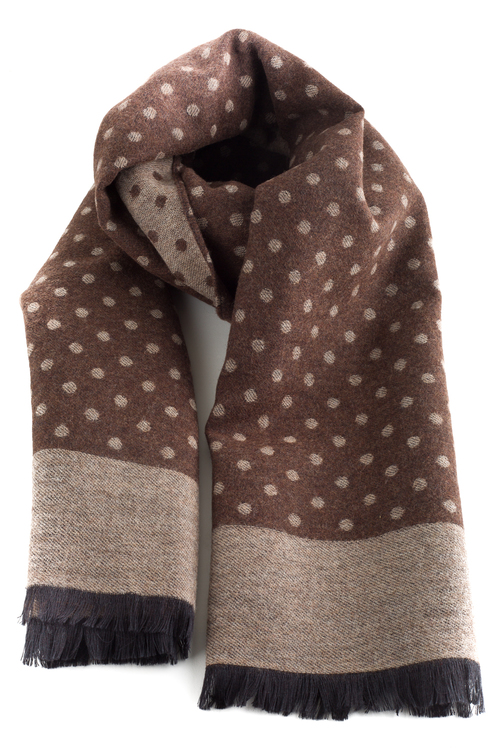 Polka Dot Wool/Silk Scarf - Brown/Beige