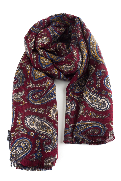 Paisley Wool Scarf - Burgundy/Brown