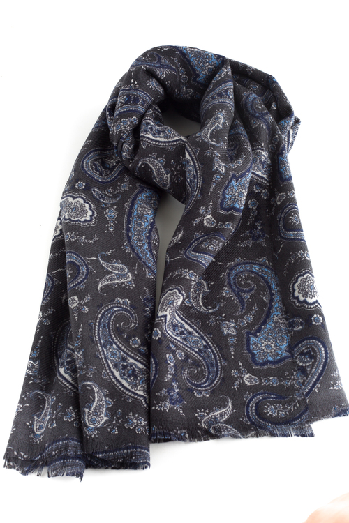 Paisley Wool Scarf - Grey/Light Blue