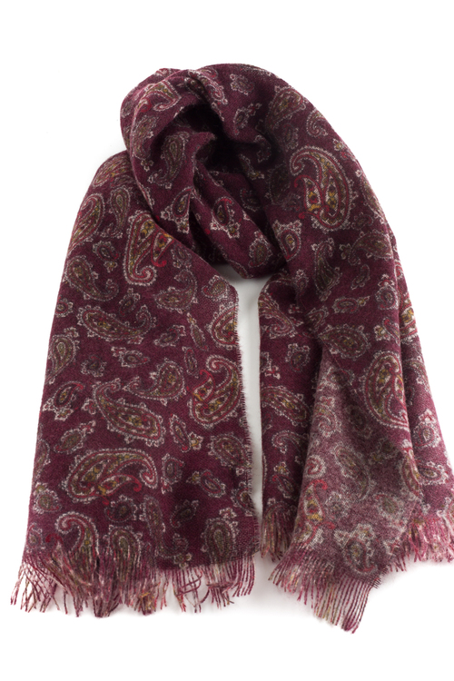 Thin Paisley Cashmere Scarf - Burgundy/Brown