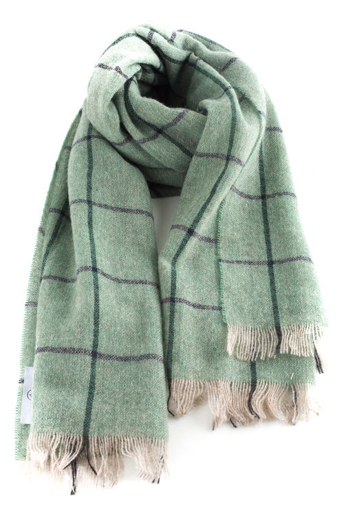 Check Cashmere Scarf - Mint Green/Navy Blue