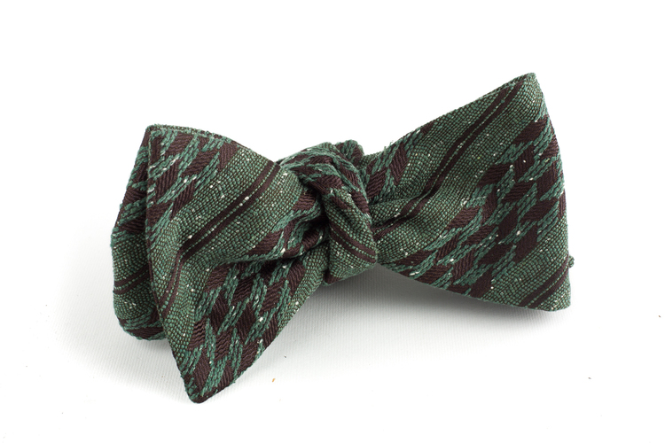 Regimental Wool Bow Tie - Green/Brown