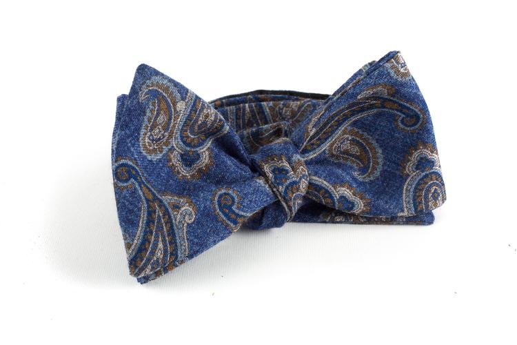 Paisley Wool Bow Tie - Blue/Grey