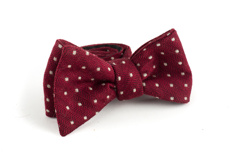 Polka Dot Wool Bow Tie - Burgundy/White
