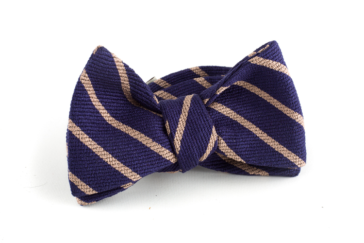 Regimental Wool/Silk Bow Tie - Navy Blue/Beige