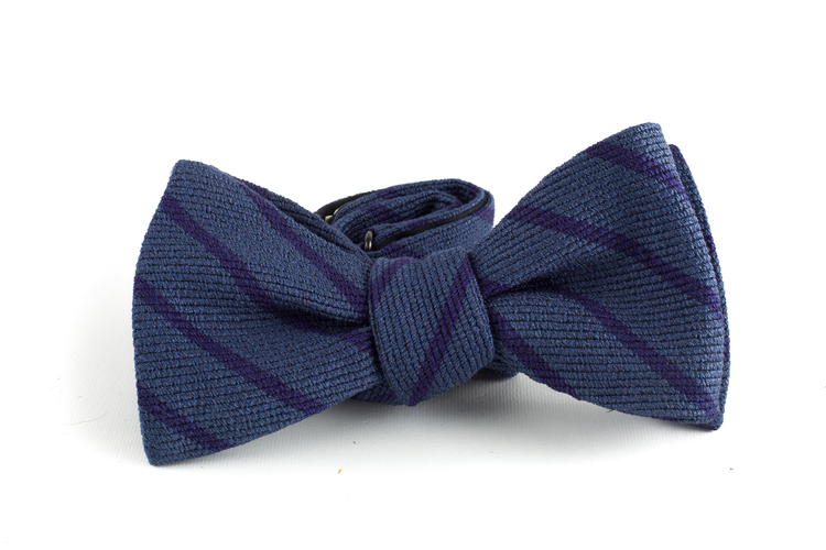 Regimental Wool/Silk Bow Tie - Light Blue/Navy Blue