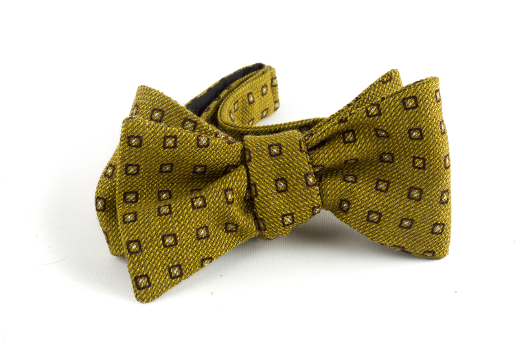 Floral Wool Bow Tie - Yellow