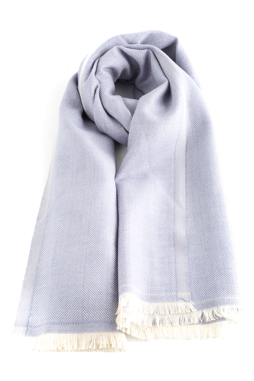 Large Herringbone Wool Scarf - Light Blue