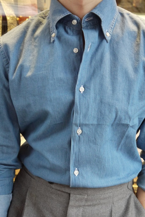 Solid Denim Shirt - Button Down - Light Navy Blue