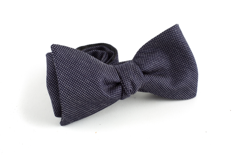 Micro Wool Bow Tie - Dark Grey/Navy Blue