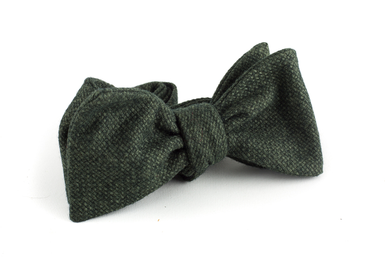 Solid Wool Bow Tie - Green