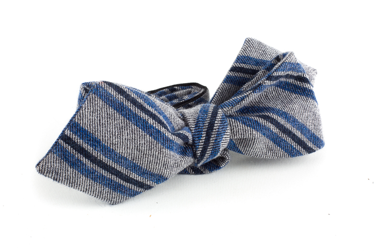 Regimental Cashmere Bow Tie - Light Grey/Blue