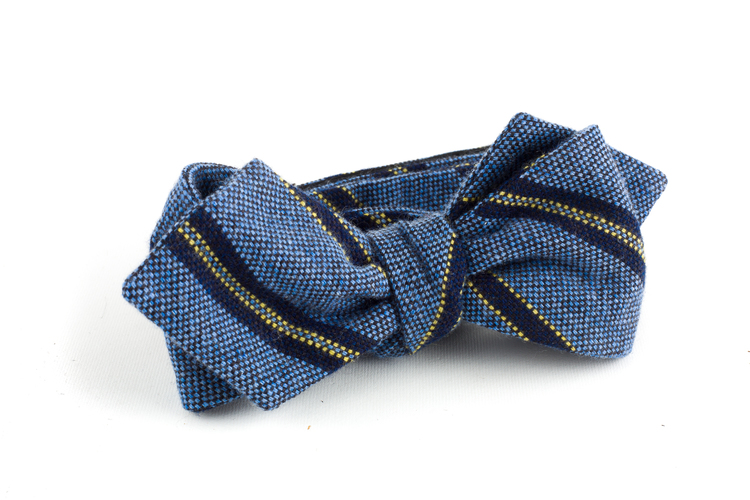 Regimental Cashmere Bow Tie - Light Blue/Navy/Yellow