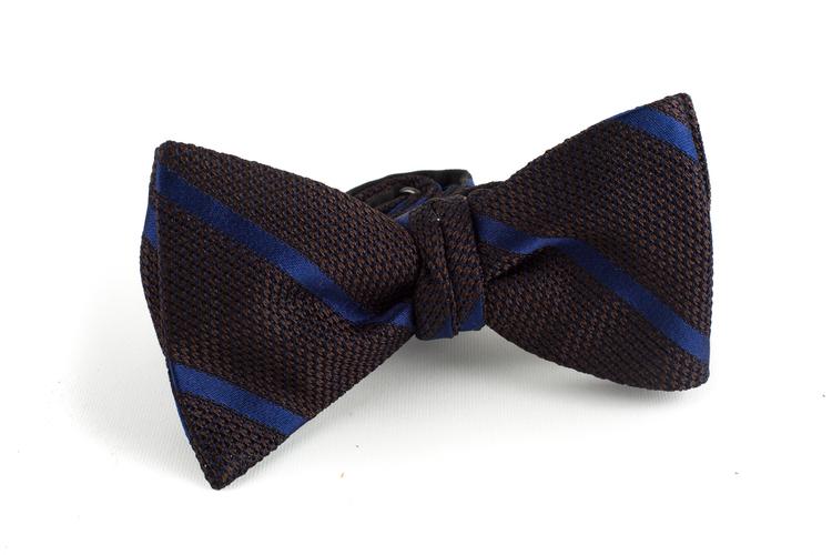 Regimental Grenadine Bow Tie - Brown/Navy Blue