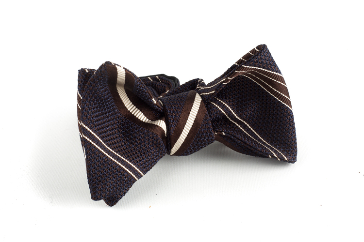 Regimental Grenadine Bow Tie - Brown/Creme